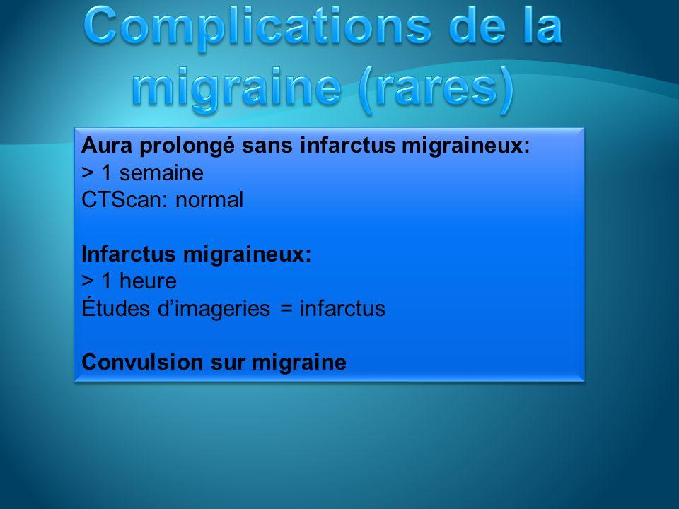 Aura prolongé sans infarctus migraineux: > 1 semaine CTScan: normal Infarctus migraineux: > 1 heure Études dimageries = infarctus Convulsion sur migraine Aura prolongé sans infarctus migraineux: > 1 semaine CTScan: normal Infarctus migraineux: > 1 heure Études dimageries = infarctus Convulsion sur migraine