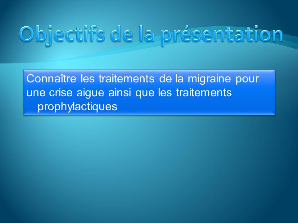 La migraine est une problème fréquent 13 % environ de la population est affectée, 2 à 3 plus de femmes que dhommes.