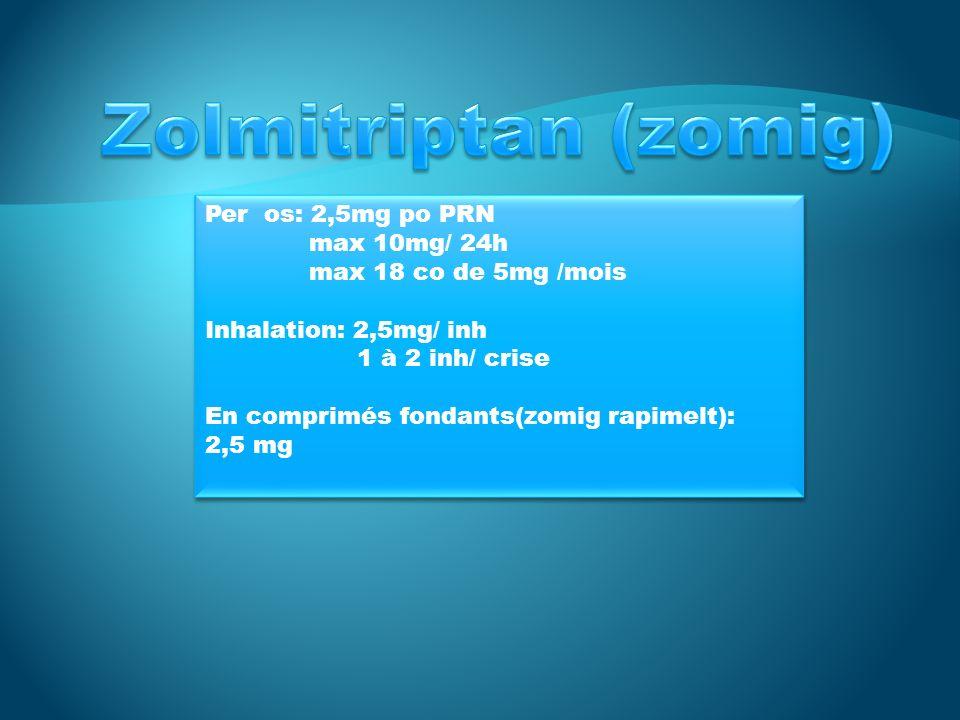 Per os: 2,5mg po PRN max 10mg/ 24h max 18 co de 5mg /mois Inhalation: 2,5mg/ inh 1 à 2 inh/ crise En comprimés fondants(zomig rapimelt): 2,5 mg Per os: 2,5mg po PRN max 10mg/ 24h max 18 co de 5mg /mois Inhalation: 2,5mg/ inh 1 à 2 inh/ crise En comprimés fondants(zomig rapimelt): 2,5 mg