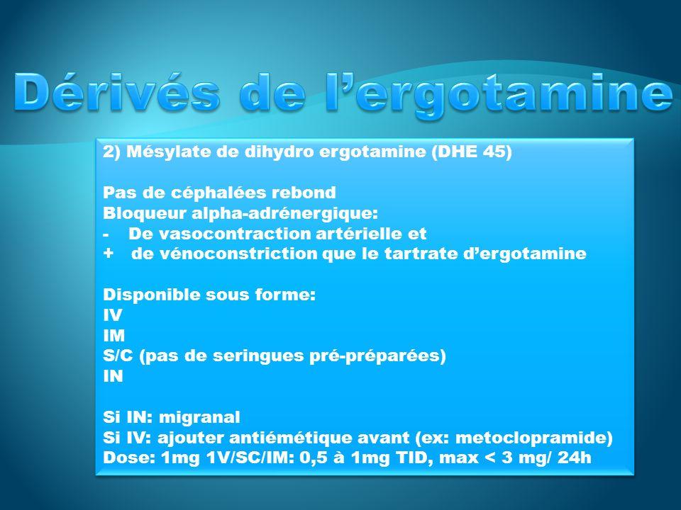 2) Mésylate de dihydro ergotamine (DHE 45) Pas de céphalées rebond Bloqueur alpha-adrénergique: -De vasocontraction artérielle et + de vénoconstriction que le tartrate dergotamine Disponible sous forme: IV IM S/C (pas de seringues pré-préparées) IN Si IN: migranal Si IV: ajouter antiémétique avant (ex: metoclopramide) Dose: 1mg 1V/SC/IM: 0,5 à 1mg TID, max < 3 mg/ 24h 2) Mésylate de dihydro ergotamine (DHE 45) Pas de céphalées rebond Bloqueur alpha-adrénergique: -De vasocontraction artérielle et + de vénoconstriction que le tartrate dergotamine Disponible sous forme: IV IM S/C (pas de seringues pré-préparées) IN Si IN: migranal Si IV: ajouter antiémétique avant (ex: metoclopramide) Dose: 1mg 1V/SC/IM: 0,5 à 1mg TID, max < 3 mg/ 24h