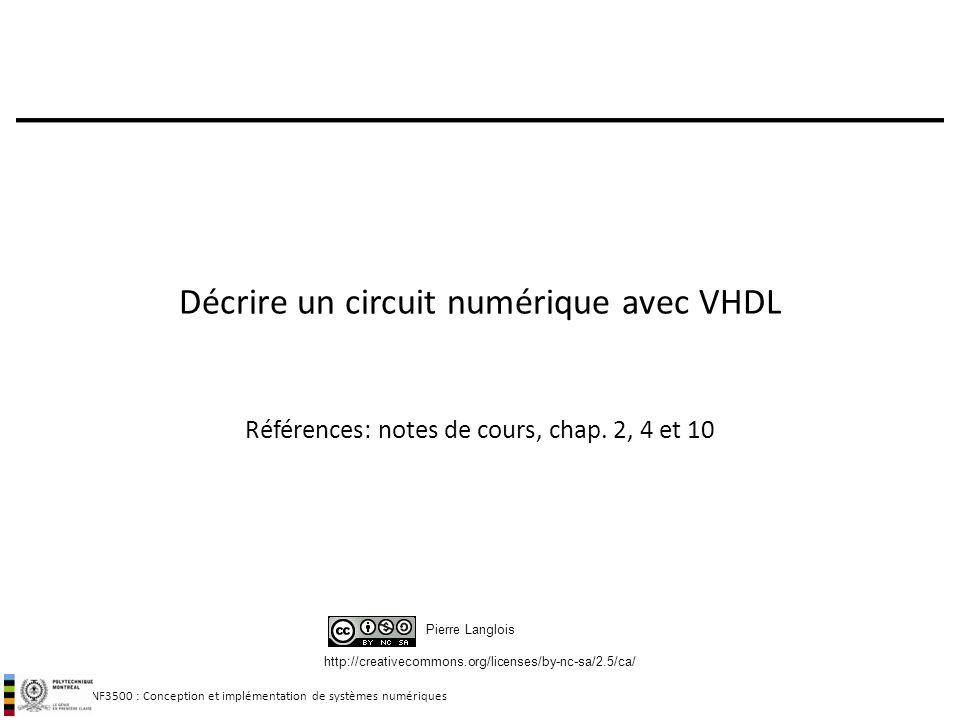 INF3500 : Conception et implémentation de systèmes numériques http://creativecommons.org/licenses/by-nc-sa/2.5/ca/ Pierre Langlois Décrire un circuit