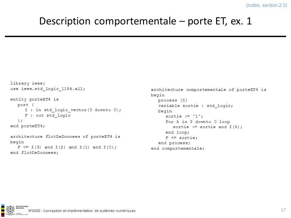 INF3500 : Conception et implémentation de systèmes numériques Description comportementale – porte ET, ex. 1 17 library ieee; use ieee.std_logic_1164.a
