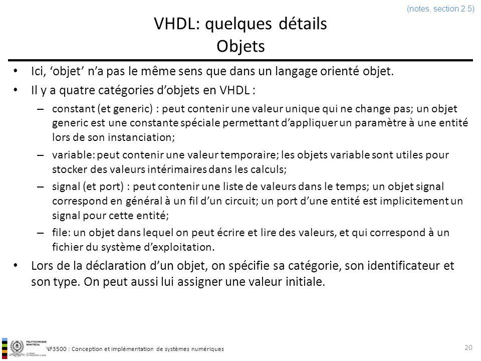 INF3500 : Conception et implémentation de systèmes numériques VHDL: quelques détails Objets 20 Ici, objet na pas le même sens que dans un langage orie