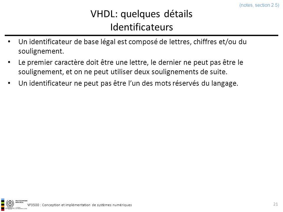 INF3500 : Conception et implémentation de systèmes numériques VHDL: quelques détails Identificateurs 21 Un identificateur de base légal est composé de