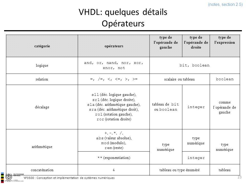 INF3500 : Conception et implémentation de systèmes numériques VHDL: quelques détails Opérateurs 23 (notes, section 2.5) catégorieopérateurs type de lo