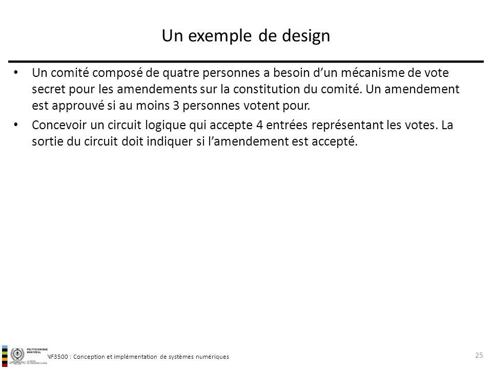 INF3500 : Conception et implémentation de systèmes numériques Un exemple de design Un comité composé de quatre personnes a besoin dun mécanisme de vot