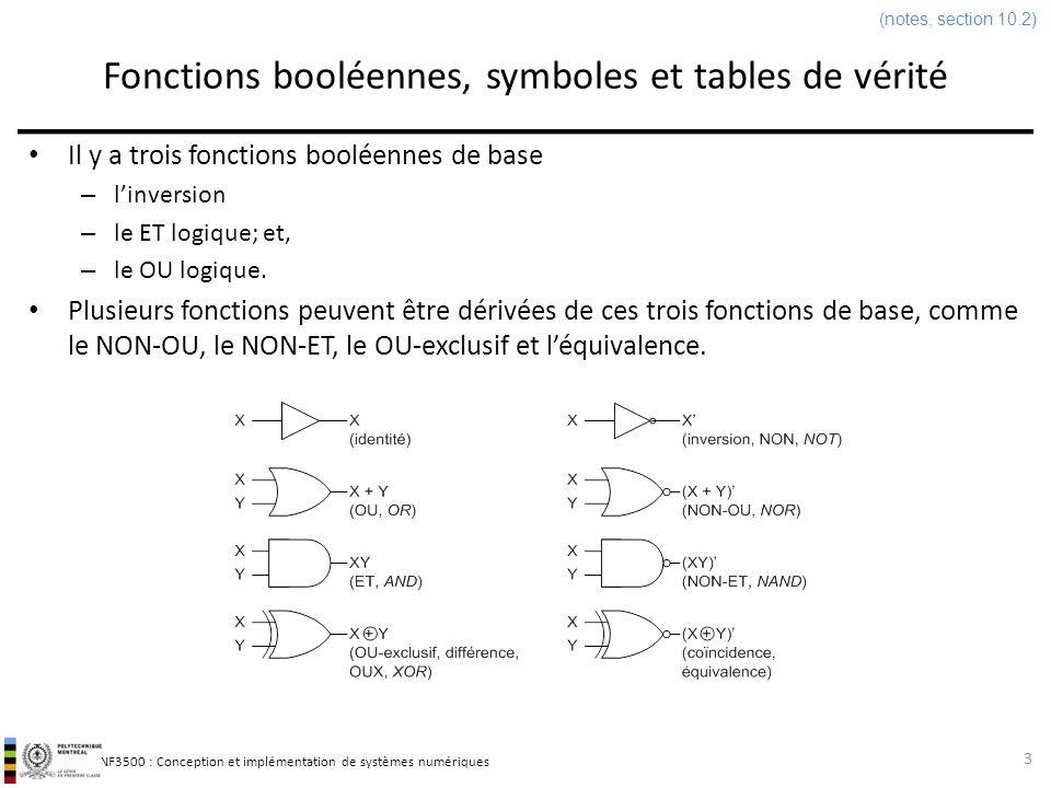 INF3500 : Conception et implémentation de systèmes numériques Fonctions booléennes, symboles et tables de vérité Il y a trois fonctions booléennes de