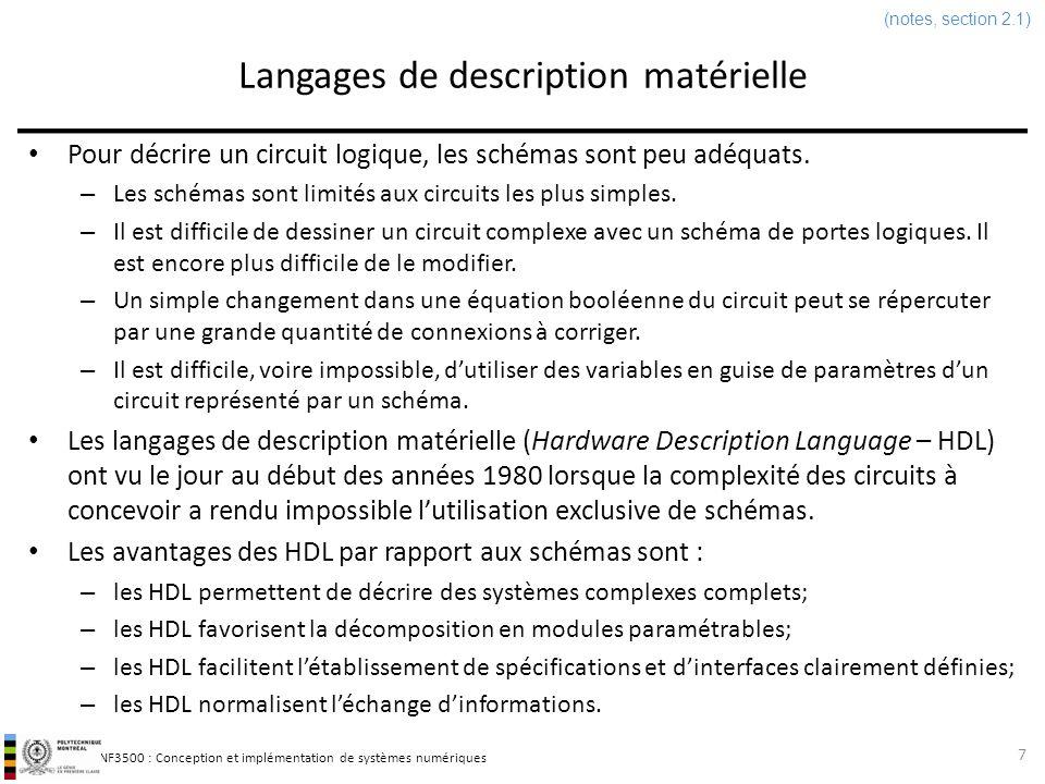 INF3500 : Conception et implémentation de systèmes numériques Langages de description matérielle Les HDL peuvent servir à trois choses : – la modélisation de circuits (surtout numériques); – la description de circuits en vue de leur synthèse (i.e.