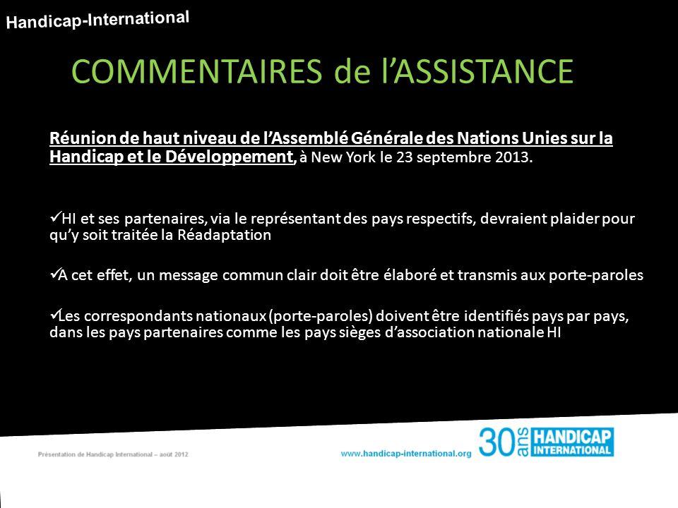 Réunion de haut niveau de lAssemblé Générale des Nations Unies sur la Handicap et le Développement, à New York le 23 septembre 2013.