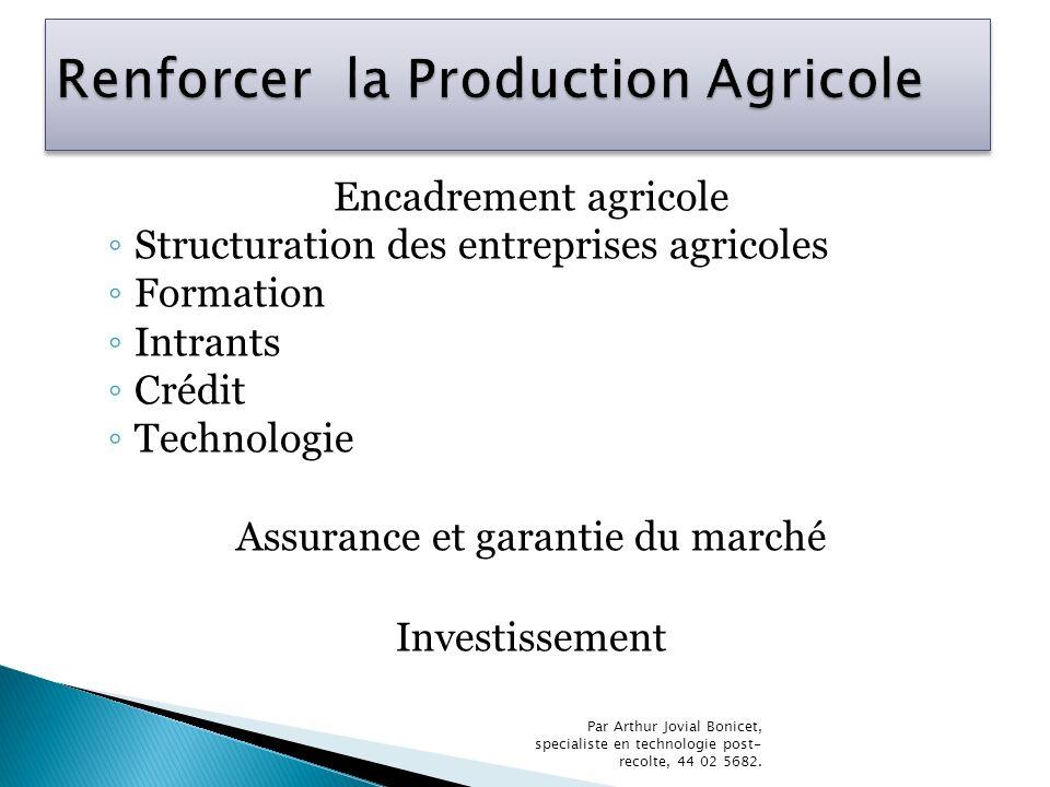 Encadrement agricole Structuration des entreprises agricoles Formation Intrants Crédit Technologie Assurance et garantie du marché Investissement Par