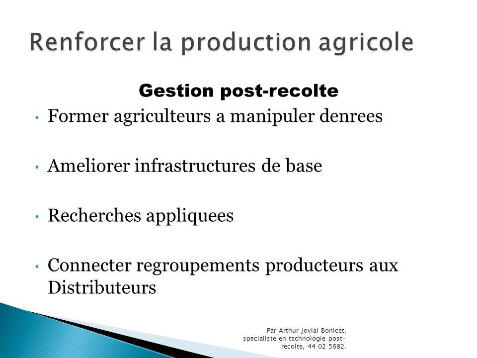 Gestion post-recolte Former agriculteurs a manipuler denrees Ameliorer infrastructures de base Recherches appliquees Connecter regroupements producteu