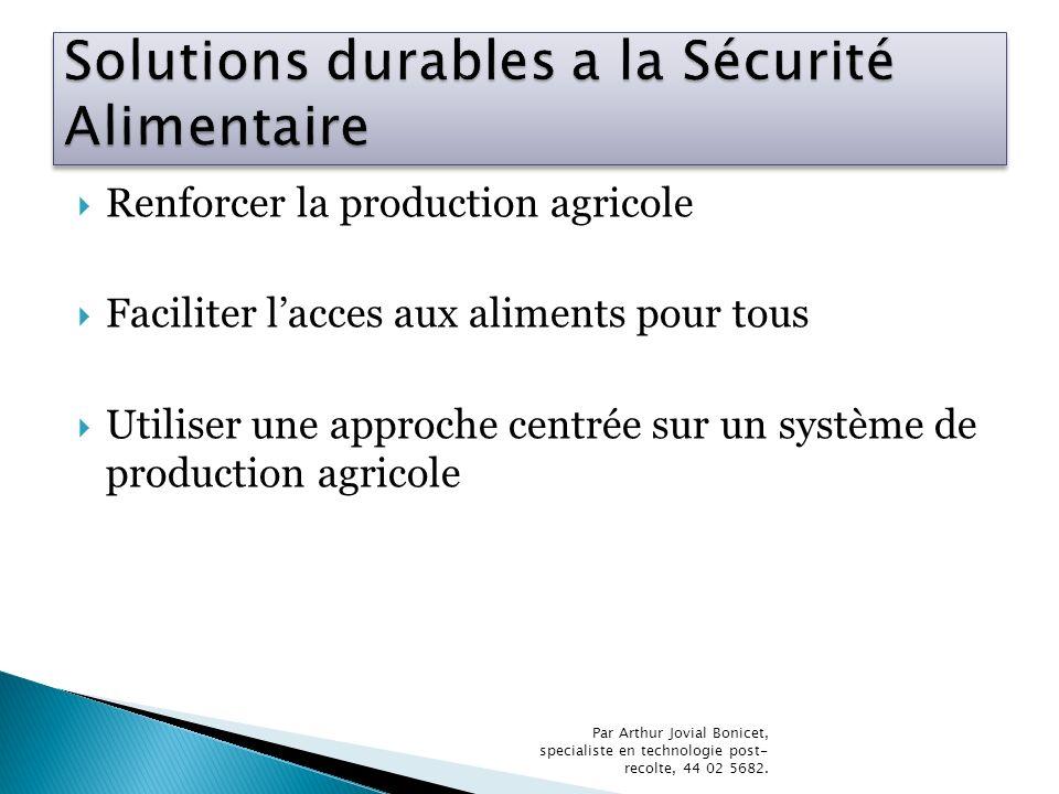 Renforcer la production agricole Faciliter lacces aux aliments pour tous Utiliser une approche centrée sur un système de production agricole Par Arthu