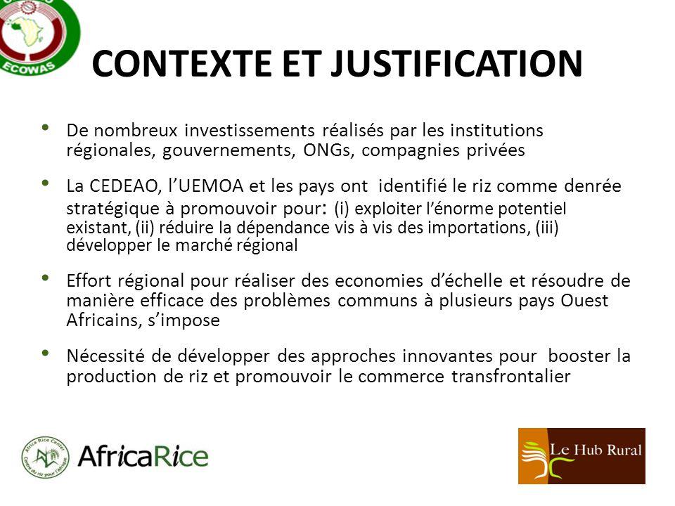 CONTEXTE ET JUSTIFICATION De nombreux investissements réalisés par les institutions régionales, gouvernements, ONGs, compagnies privées La CEDEAO, lUEMOA et les pays ont identifié le riz comme denrée stratégique à promouvoir pour : (i) exploiter lénorme potentiel existant, (ii) réduire la dépendance vis à vis des importations, (iii) développer le marché régional Effort régional pour réaliser des economies déchelle et résoudre de manière efficace des problèmes communs à plusieurs pays Ouest Africains, simpose Nécessité de développer des approches innovantes pour booster la production de riz et promouvoir le commerce transfrontalier