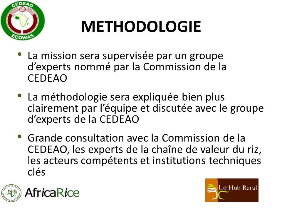 METHODOLOGIE La mission sera supervisée par un groupe dexperts nommé par la Commission de la CEDEAO La méthodologie sera expliquée bien plus clairement par léquipe et discutée avec le groupe dexperts de la CEDEAO Grande consultation avec la Commission de la CEDEAO, les experts de la chaîne de valeur du riz, les acteurs compétents et institutions techniques clés