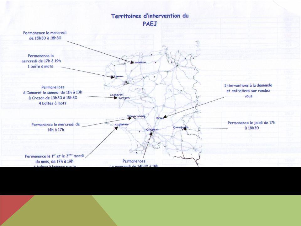 ORGANISATION Comité de pilotage (PEP29 Quimper) Comité technique par pays (Cornouaille et Brest) Comité de suivi par antenne: PAEJ Parenthèse COCOPAQ portage: PEP29 et service Prévention Cocopaq Partenaires : PIJ, Mission locale, collèges & lycées, centre hospitalier (service addictologie, centre de planification), CDAS, Agora justice, MJC, Protection Judiciaire de la Jeunesse (PJJ)