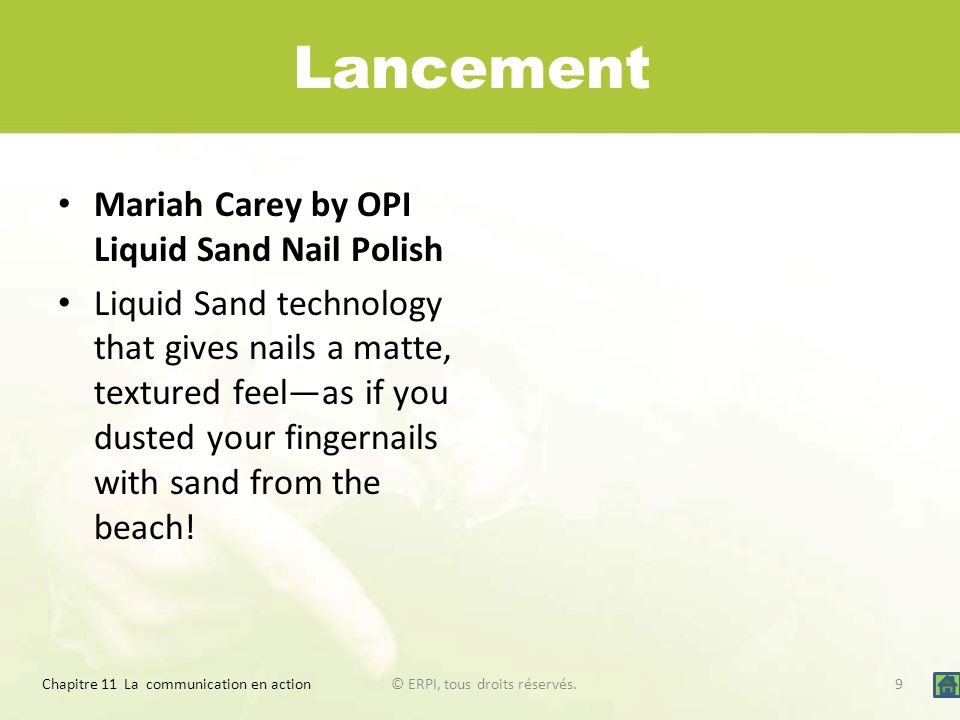 Lancement Mariah Carey by OPI Liquid Sand Nail Polish Liquid Sand technology that gives nails a matte, textured feelas if you dusted your fingernails with sand from the beach.