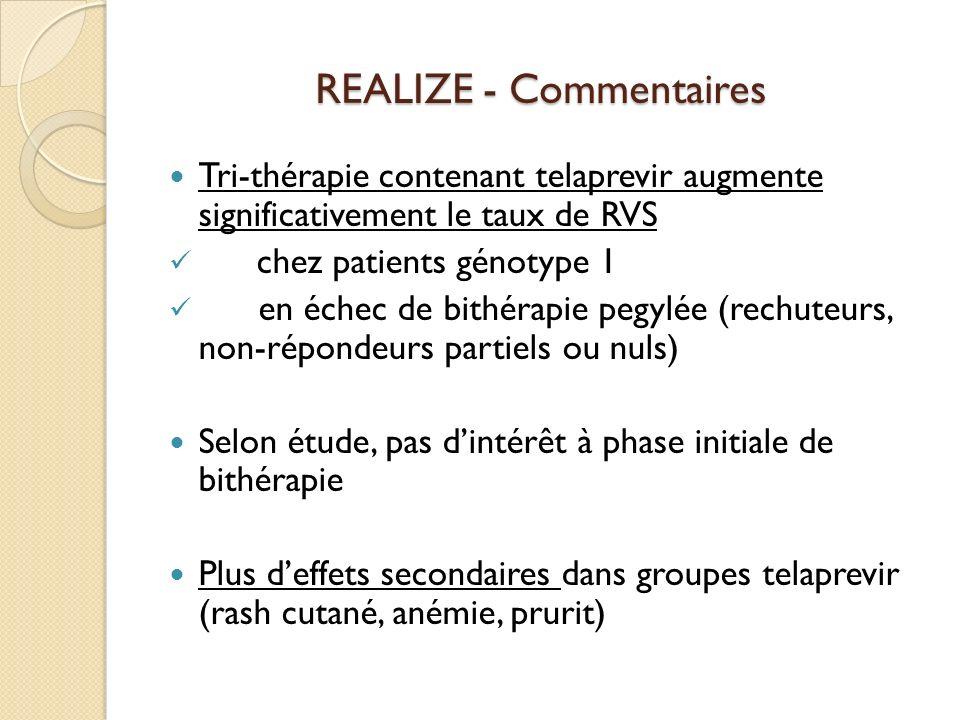 REALIZE - Commentaires Tri-thérapie contenant telaprevir augmente significativement le taux de RVS chez patients génotype 1 en échec de bithérapie peg