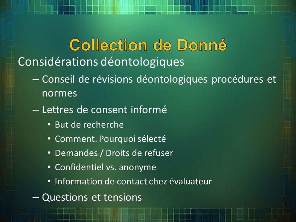 Considérations déontologiques – Conseil de révisions déontologiques procédures et normes – Lettres de consent informé But de recherche Comment.