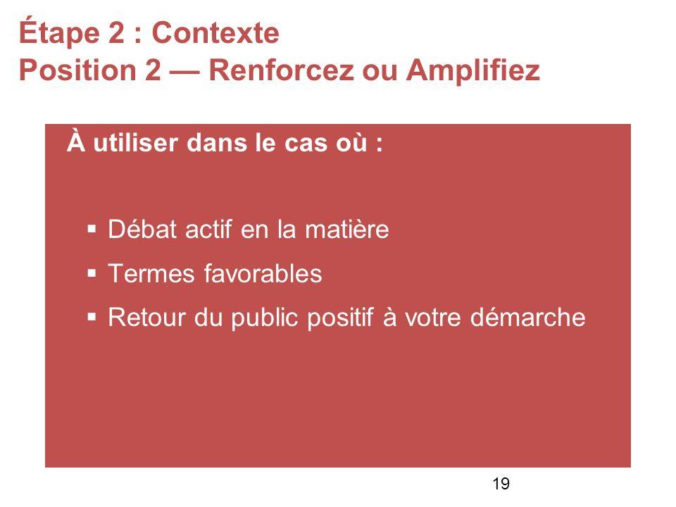 Étape 2 : Contexte Position 2 Renforcez ou Amplifiez À utiliser dans le cas où : Débat actif en la matière Termes favorables Retour du public positif à votre démarche 19