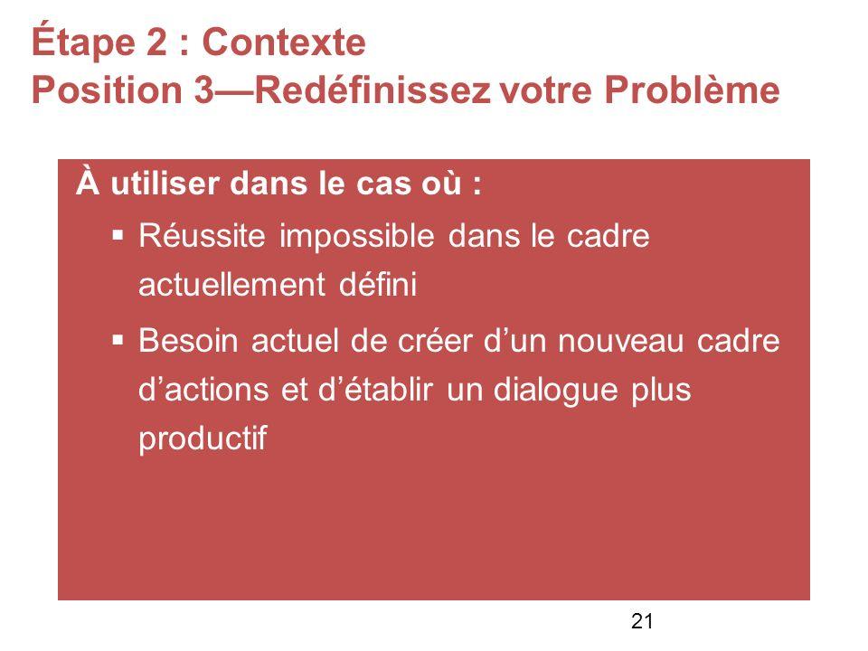 Étape 2 : Contexte Position 3Redéfinissez votre Problème À utiliser dans le cas où : Réussite impossible dans le cadre actuellement défini Besoin actuel de créer dun nouveau cadre dactions et détablir un dialogue plus productif 21