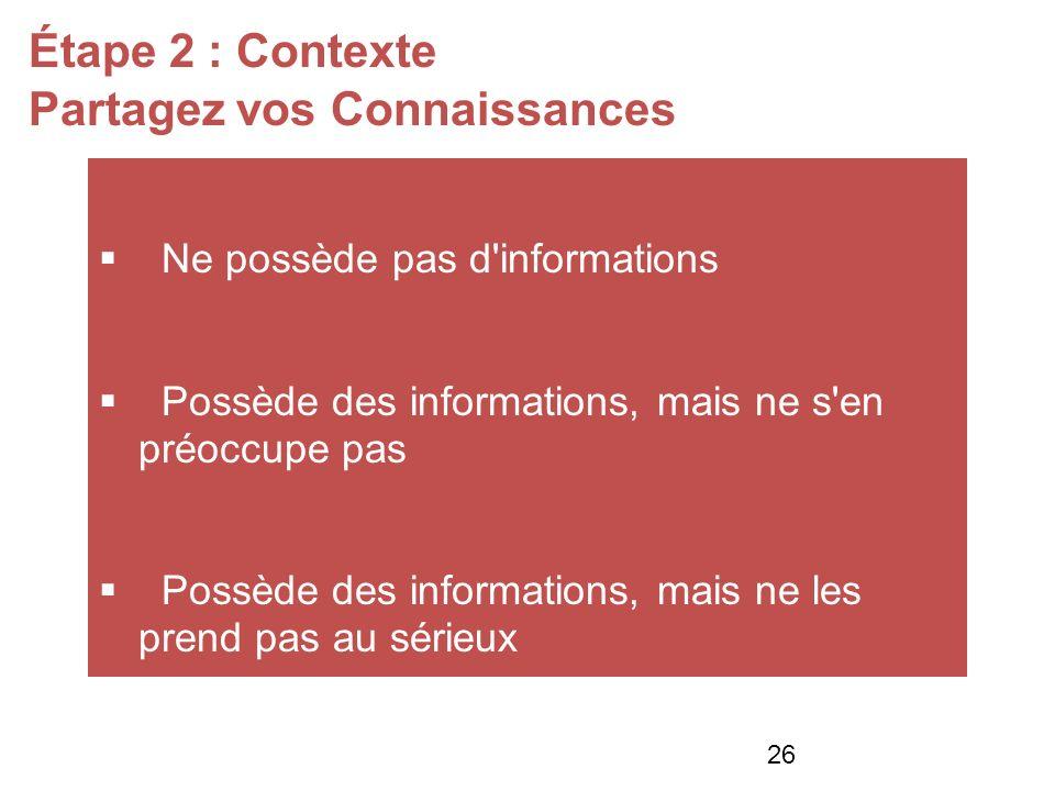 Étape 2 : Contexte Partagez vos Connaissances Ne possède pas d informations Possède des informations, mais ne s en préoccupe pas Possède des informations, mais ne les prend pas au sérieux 26