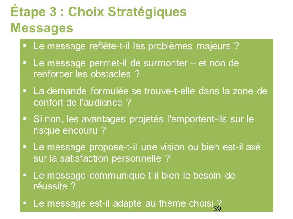 Étape 3 : Choix Stratégiques Messages Le message reflète-t-il les problèmes majeurs .