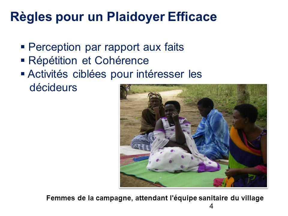 Règles pour un Plaidoyer Efficace Perception par rapport aux faits Répétition et Cohérence Activités ciblées pour intéresser les décideurs Femmes de la campagne, attendant l équipe sanitaire du village 4