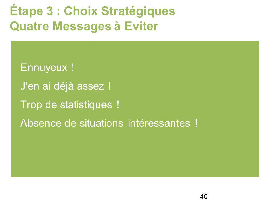 Étape 3 : Choix Stratégiques Quatre Messages à Eviter Ennuyeux .