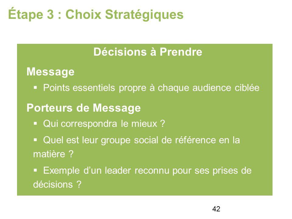 Étape 3 : Choix Stratégiques Décisions à Prendre Message Points essentiels propre à chaque audience ciblée Porteurs de Message Qui correspondra le mieux .