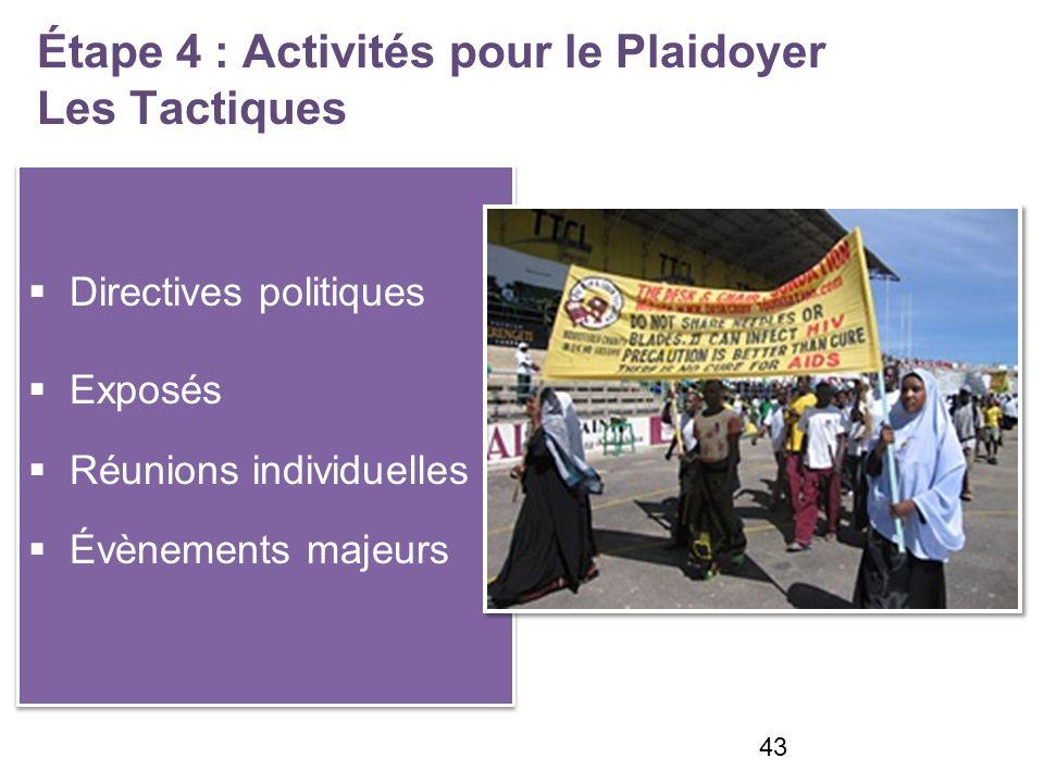 Étape 4 : Activités pour le Plaidoyer Les Tactiques Directives politiques Exposés Réunions individuelles Évènements majeurs Directives politiques Exposés Réunions individuelles Évènements majeurs 43