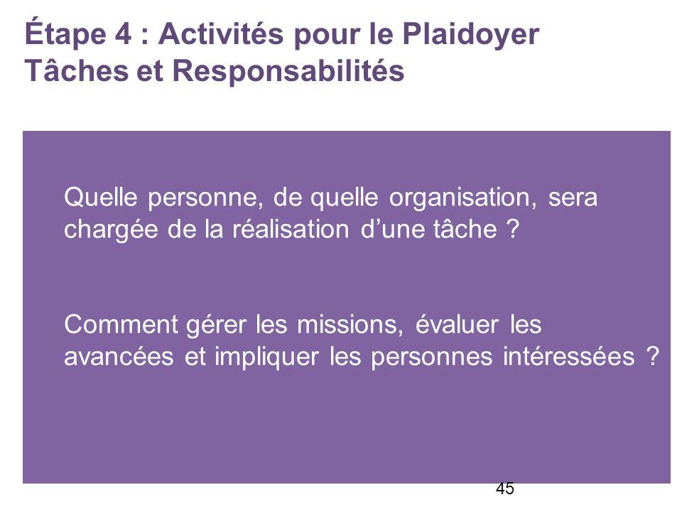 Étape 4 : Activités pour le Plaidoyer Tâches et Responsabilités Quelle personne, de quelle organisation, sera chargée de la réalisation dune tâche .