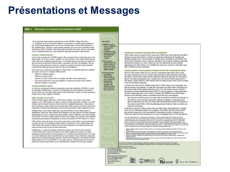 Présentations et Messages