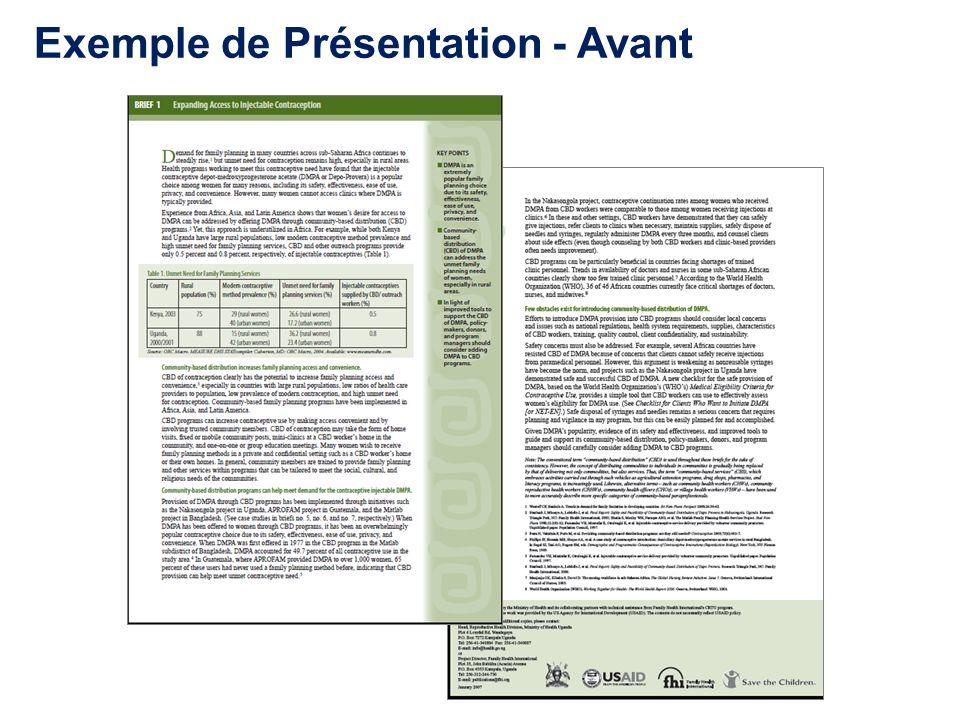 Exemple de Présentation - Avant