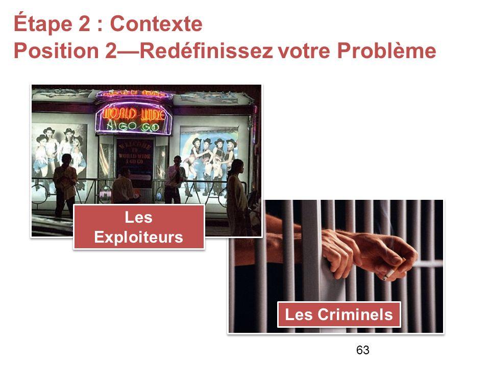 Les Exploiteurs Étape 2 : Contexte Position 2Redéfinissez votre Problème Les Criminels 63