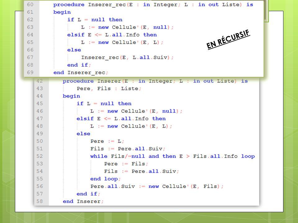 TD3 Question 2 : Ecrire lalgorithme et le corps des sous-programmes suivants : Le sous-programme dinsertion (version itérative ) Le sous-programme de suppression (version récursive ) Le sous-programme de suppression (version récursive ) : On veut supprimer lentier E de la liste L : Si L est vide alors On ne fait rien Sinon si E est égal à la première valeur de L alors : On supprime cette première valeur et on actualise L Sinon si E est plus grand que la première valeur de L alors : On demande la suppression de E dans le reste de la liste après L [ Sinon cela veut dire que E est plus petit que la première valeur de L et donc que E nest pas dans la liste.