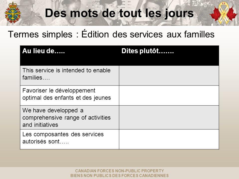 CANADIAN FORCES NON-PUBLIC PROPERTY BIENS NON PUBLICS DES FORCES CANADIENNES Des mots de tout les jours Termes simples : Édition des services aux familles Au lieu de…..Dites plutôt…….