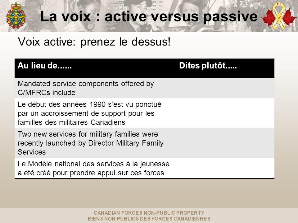 CANADIAN FORCES NON-PUBLIC PROPERTY BIENS NON PUBLICS DES FORCES CANADIENNES La voix : active versus passive Voix active: prenez le dessus.