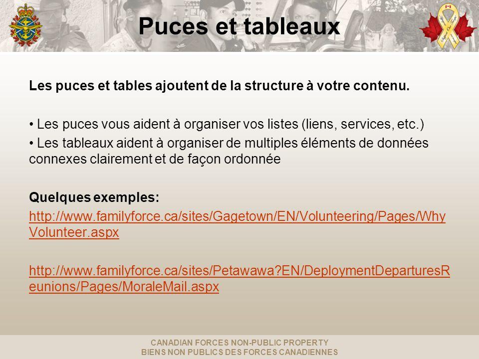 CANADIAN FORCES NON-PUBLIC PROPERTY BIENS NON PUBLICS DES FORCES CANADIENNES Puces et tableaux Les puces et tables ajoutent de la structure à votre contenu.