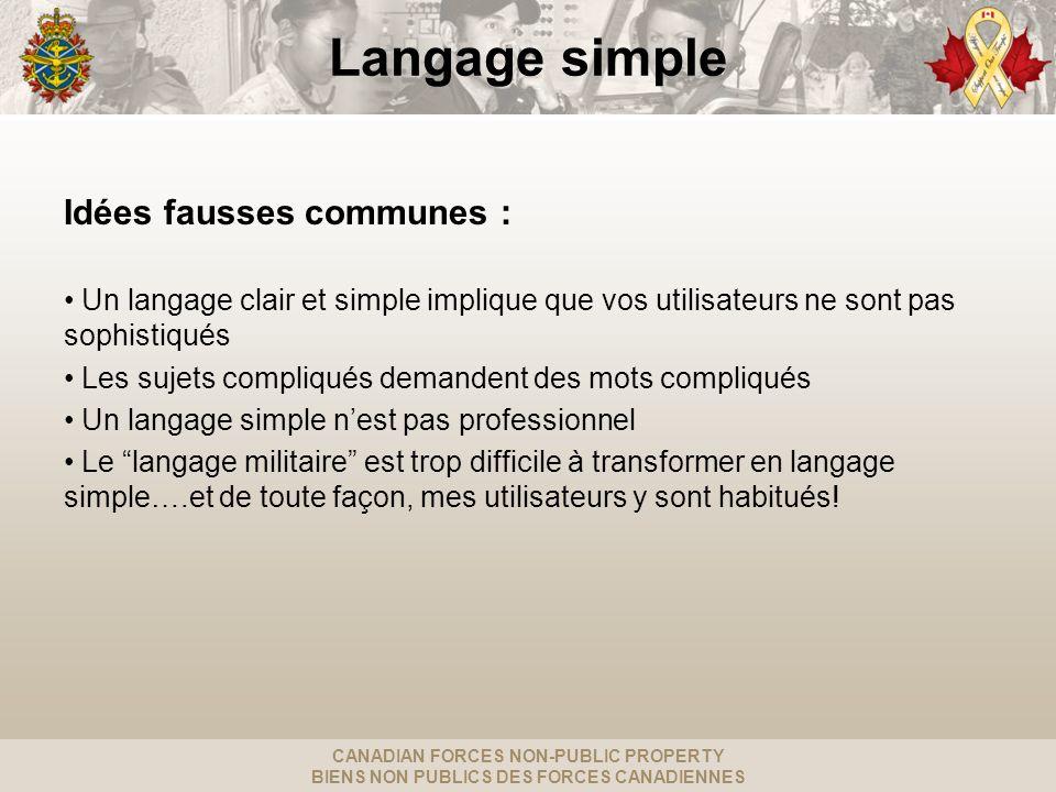 CANADIAN FORCES NON-PUBLIC PROPERTY BIENS NON PUBLICS DES FORCES CANADIENNES Un langage simple veut dire...