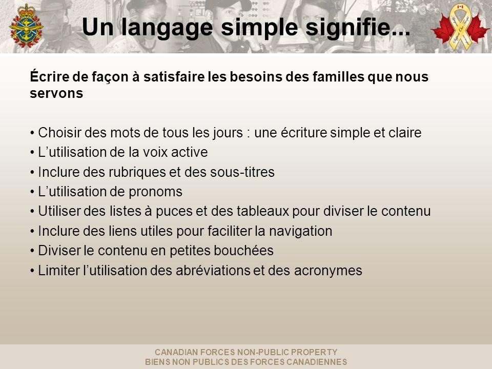 CANADIAN FORCES NON-PUBLIC PROPERTY BIENS NON PUBLICS DES FORCES CANADIENNES Un langage simple signifie...