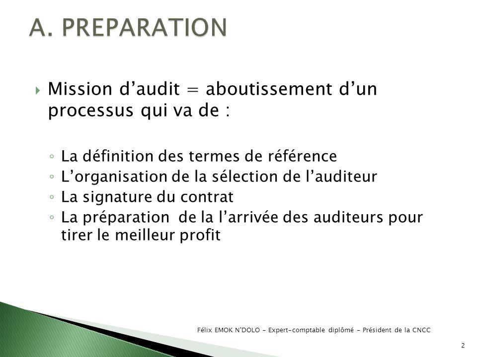 Mission daudit = aboutissement dun processus qui va de : La définition des termes de référence Lorganisation de la sélection de lauditeur La signature