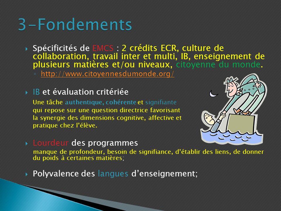 Spécificités de EMCS : 2 crédits ECR, culture de collaboration, travail inter et multi, IB, enseignement de plusieurs matières et/ou niveaux, citoyenne du monde.