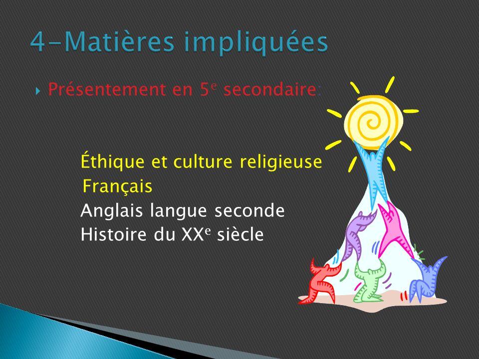 Présentement en 5 e secondaire: Éthique et culture religieuse Français Anglais langue seconde Histoire du XX e siècle