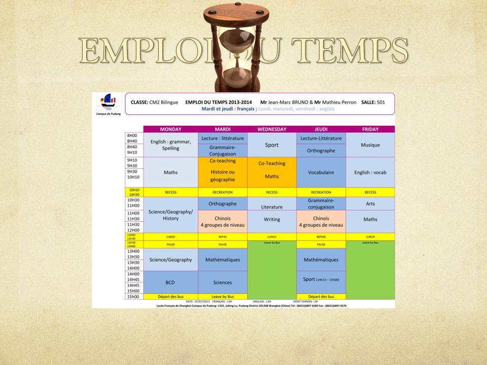 Evaluations Remise des bulletins scolaires :fin octobre, décembre, février, avril, juin..