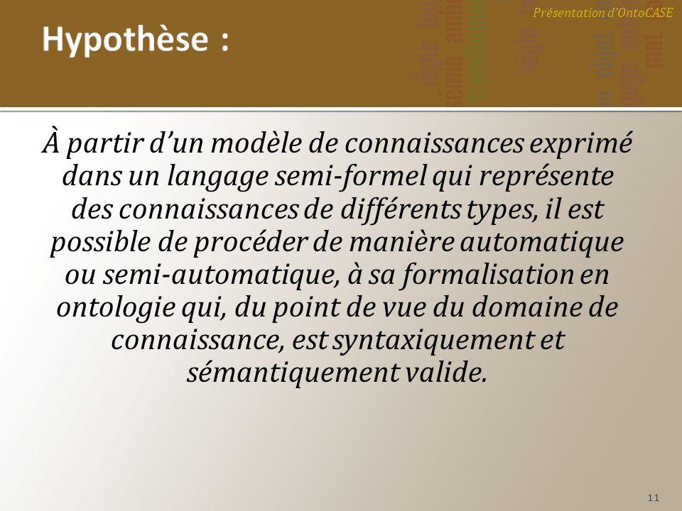 À partir dun modèle de connaissances exprimé dans un langage semi-formel qui représente des connaissances de différents types, il est possible de proc