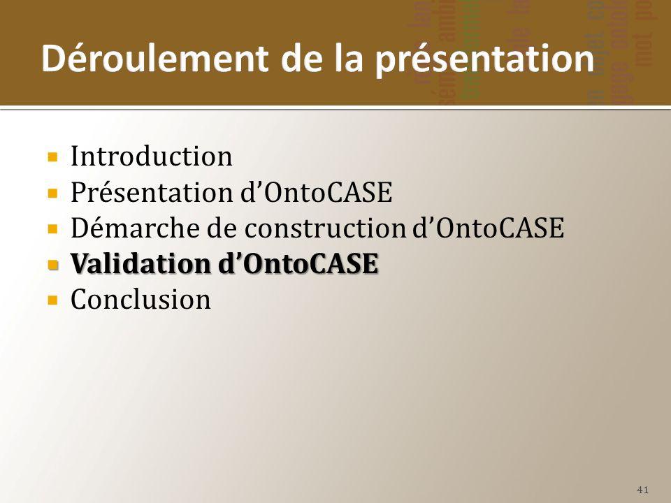 Introduction Présentation dOntoCASE Démarche de construction dOntoCASE Validation dOntoCASE Validation dOntoCASE Conclusion 41