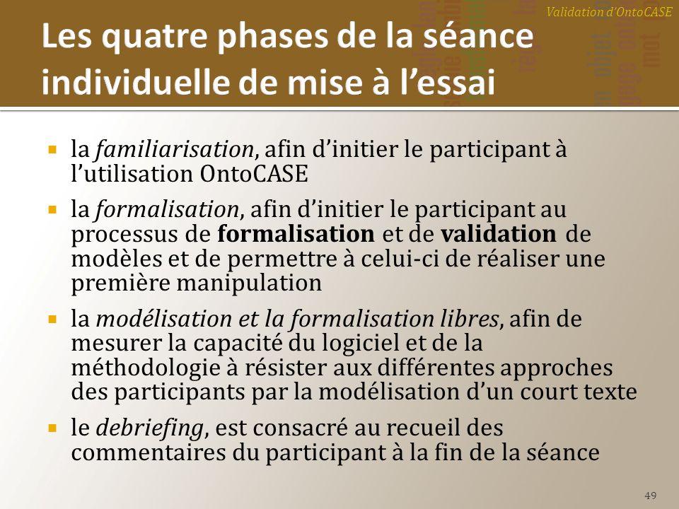 la familiarisation, afin dinitier le participant à lutilisation OntoCASE la formalisation, afin dinitier le participant au processus de formalisation