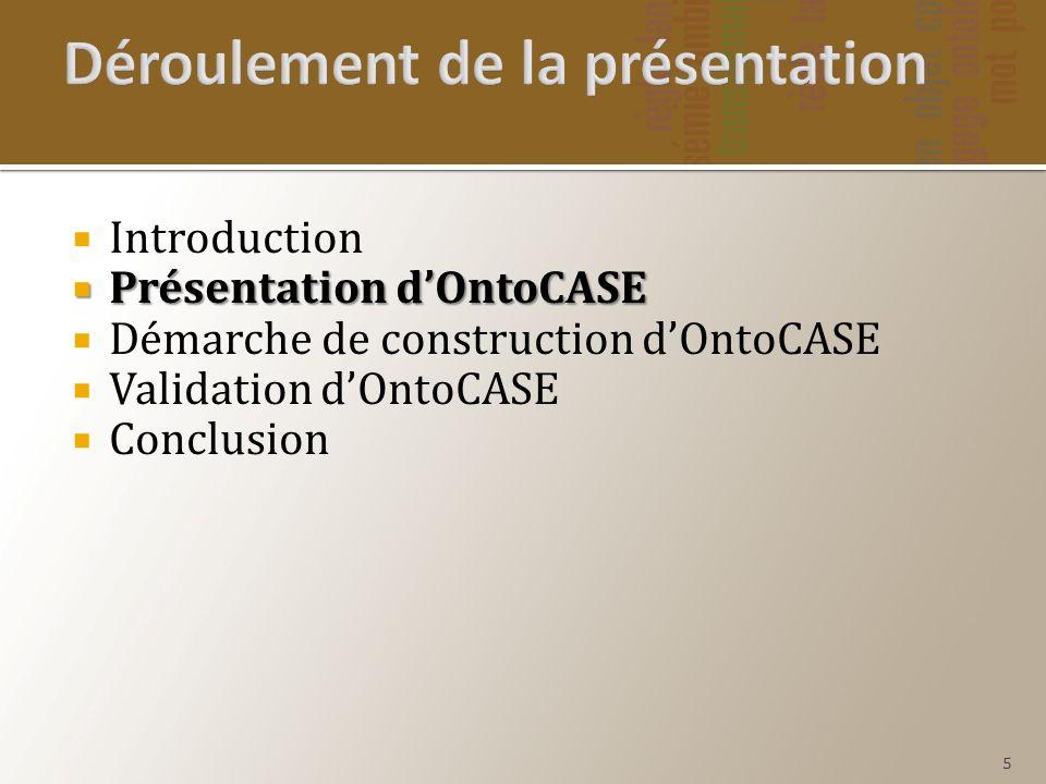 Présentation dOntoCASE Présentation dOntoCASE Démarche de construction dOntoCASE Validation dOntoCASE Conclusion 5