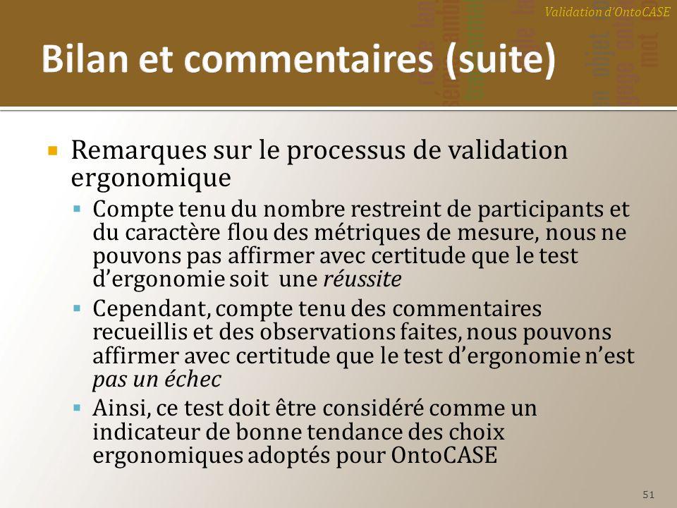 Remarques sur le processus de validation ergonomique Compte tenu du nombre restreint de participants et du caractère flou des métriques de mesure, nou