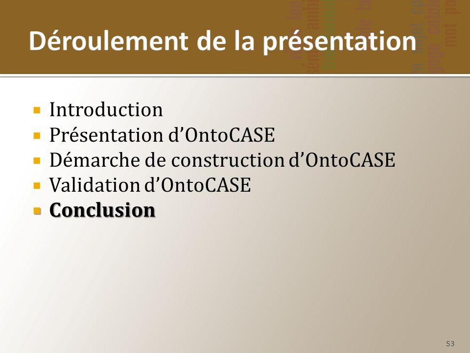 Introduction Présentation dOntoCASE Démarche de construction dOntoCASE Validation dOntoCASE Conclusion Conclusion 53